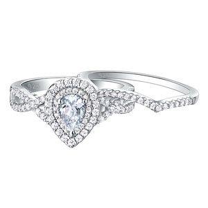 💖2pcs 925 silver Engagement ring Wedding band set
